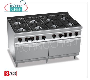 TECGNOCHEF - GAS RANGE 8 BURNERS on 2 GN 2/1 GAS OVENS, mod. G9F8 + 2FG 8 BURNERS GAS RANGE on 2 GN 2/1 GAS OVENS, BERTOS MAXIMA 900 Line, HIGH POWER Series, total thermal power Kw.84.6, Weight 260 Kg, dim.mm.1600x900x900h