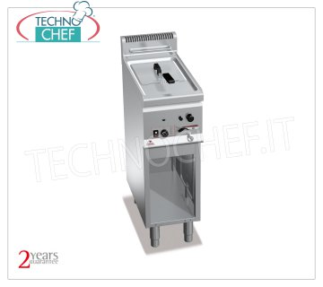 TECHNOCHEF - GAS FRYER on MOBILE, 1 8 lt. Tank, Mod.GL8M GAS FRYER on MOBILE, BERTOS, PLUS 600 Line, MULTIPAN POWERED Series, 1 8 lt tank, heat output Kw.6, Weight 34 Kg, dim.mm.300x600x900h