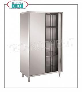 Stainless steel 304 crockery cabinet with hinged doors and 3 intermediate shelves, 60 cm deep Storage cupboard with 2 hinged doors and 3 intermediate shelves adjustable in height, dim. mm 1200x600x1700h