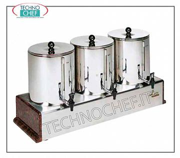 Hot water producers for drinks Bain-marie containers 5 + 5 + 5 l- 75 cups of 200 cc. Composed of 3 cont. 5 l bain-marie completely independent, V 230/1, Kw 2.7, mm 700x390x513 h, weight Kg 17.