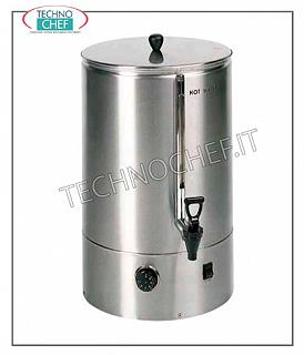 Hot drink dispensers before breakfast Manufacturer and distributor of hot water in 18/10 stainless steel. 1 l of hot water every 2 min. with a maximum reserve of 7.7 l, V 230/1, Kw 2.4, mm 336x440x576 h, weight 10 Kg.