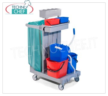 Forcar - Cleaning Trolley, 2 buckets lt. 15, Wringer, Bag holder, Medium box, mod.CA1615 Multipurpose trolley for cleaning, complete with wringer, medium box, bag holder, 2 buckets of lt. 4 and 2 buckets of lt. 15, broom hook, central compartment with sliding drawer, wheels diameter 100, dim.mm.920x680x1240h