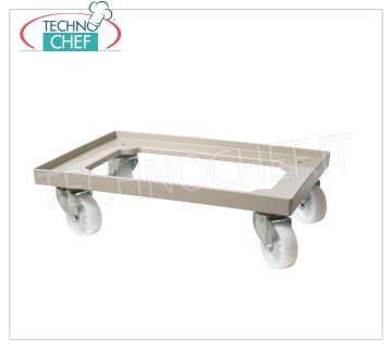 Technochef - Cart CONTAINERS Pizza dough 60x40 cm, mod. CA6040 ABS trolley for pizza loaf boxes 60x40 cm - Maximum load 250 Kg, dim.mm.600x400x165h