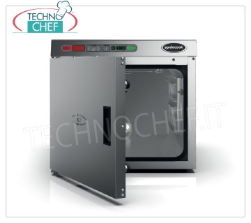 SPIDOCOOK - CALDOLUX Low Temperature and Maintaining Electric Oven, Mod.SCH030 Electric oven for low temperature cooking and keeping cooked food, CALDOLUX line, capacity 3 GN 1/1 trays (excluded), digital control panel, complete with core probe, V.230 /, Kw.0.76, Weight 25 Kg, dim.mm.436x645x409h