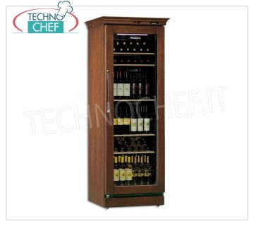 Technochef - 1 Door WINE Refrigerator for 106 Bottles, Static, Multi temperature from + 6 ° / + 16 ° C, Wooden wine cellar, Professional 1 glass door, for 106 Bottles, Static, temperature + 6 ° / + 16 ° C, Led lighting, V.230 / 1, Kw.0.125, Weight 94 Kg, dim.mm. 695x650x1880h