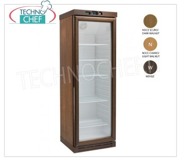 Forcar - WINE CELLAR 1 Door, Temp. + 2 ° / + 8 ° C, Static with Agitator, on Wooden Cabinet, Refrigerated wine cellar, 1 glass door, capacity lt. 310, temperature + 2 ° / + 8 ° C, Static with Agitator, DARK WALNUT color wooden cabinet, LED lighting, V.230 / 1, Kw.0.185, Weight 130 Kg, dim.mm.640x610x1860h.
