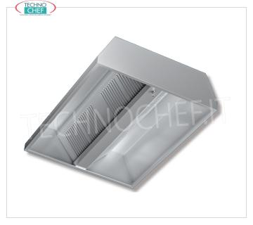Central stainless steel extractor hood with motor, 1300 mm deep line Central extractor hood 430 Stainless steel with Motor, with 4 labyrinth grease filters, V.230 / 1, Kw.0,147, Weight 86 Kg, dim.mm.1200x1300x450h