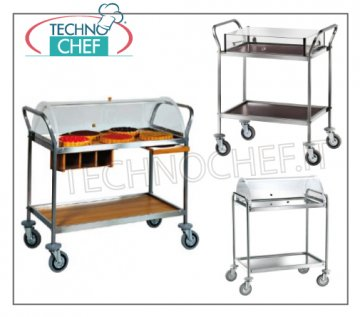 wooden trolleys for desserts and cheeses