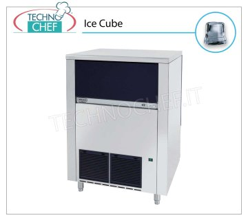 ICE MACHINE 130 -134 Kg / 24 hours, FULL CUBES with 65 kg DEPOSIT Ice maker in FULL ROUND CUBES, 65 Kg storage, stainless steel exterior, air cooling, V 230/1, Kw 1.05, yield 130-134 Kg / 24 hours, dimensions 840x740x1075 h mm, weight 113 Kg.