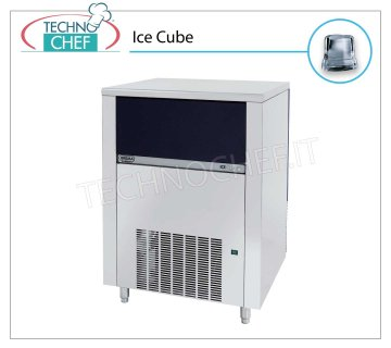 ICE MACHINE 155 Kg / 24 hours, FULL CUBES with 65 kg DEPOSIT MANUFACTURER / MANUFACTURER of full ice cubes, with 65 Kg BUILT-IN STORAGE, stainless steel exterior, air cooling, V 230/1, Kw 1,4, yield 155 Kg / 24 hours, dimensions 840x740x1075 h mm, weight 118 Kg.