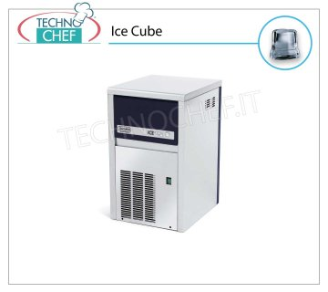 ICE MACHINE 21 Kg / 24 hours, FULL CUBES with 4 kg DEPOSIT Full cube ice makers, 4 Kg storage, stainless steel exterior, air cooling, V 230/1, Kw 0.32, yield 21 Kg / 24 hours, dimensions 355x404x590 h mm, weight 28 Kg.