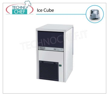 ICE MACHINE 24 Kg / 24 hours, FULL CUBES with 9 kg DEPOSIT Full cube ice makers, 9 Kg storage, stainless steel exterior, air cooling, V 230/1, Kw 0.37, yield 24 Kg / 24 hours, dimensions 390x460x690 h mm, weight 37 Kg.