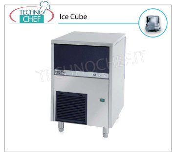 ICE MACHINE 33 Kg / 24 hours, FULL CUBES with 16 kg DEPOSIT Full cube ice makers, 16 Kg storage, stainless steel exterior, air cooling, V 230/1, Kw 0.37, yield 33 Kg / 24 hours, dimensions 500x580x690 h mm, weight 48 Kg.