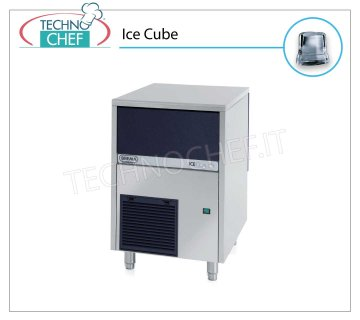 ICE MACHINE 42 Kg / 24 hours, FULL CUBES with 16 kg DEPOSIT Full cube ice makers, 16 Kg storage, stainless steel exterior, air cooling, V 230/1, Kw 0.45, output 42 Kg / 24 hours, dimensions 500x580x690 h mm, weight 52 Kg.