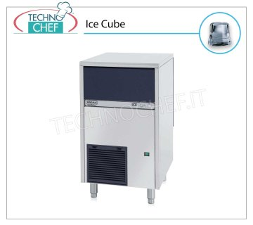 ICE MACHINE 46 Kg / 24 hours, FULL CUBES with 25 kg DEPOSIT Full cube ice makers, 25 Kg storage, stainless steel exterior, air cooling, V 230/1, Kw 0.5, yield 46 Kg / 24 hours, dimensions 500x580x800 h mm, weight 56 Kg.