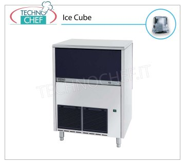 ICE MACHINE 65 Kg / 24 hours, FULL CUBES with 40 kg DEPOSIT Full cube ice makers, 40 Kg storage, air cooling, V 230/1, Kw 0,65, yield 67 to 72 Kg / 24 hours, dimensions 738x600x920 h mm, weight 77 Kg.