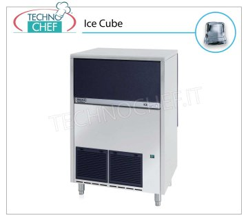 ICE MACHINE 80-85 Kg / 24 hours, FULL CUBES with 40 kg DEPOSIT Full cubes ice maker, 40 Kg storage, stainless steel exterior, air cooling, V 230/1, Kw 0,8, yield 80 Kg / 24 hours, dimensions 738x600x920 h mm, weight 86 Kg.