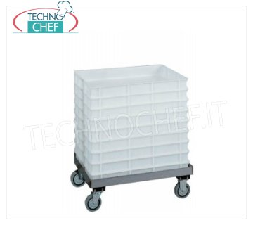 Technochef - Cart for pizza dough containers 60x40 cm, without handle, model CB1443 Stainless steel trolley for pizza loaf crates 600x400 mm without push handle, dim.mm.620x420x200h
