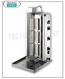 ELECTRIC GYROS with 9 heating elements, 740 mm high cooking rod complete with plate STAINLESS STEEL ELECTRIC GYROS with 9 heating elements, 740 mm high cooking rod complete with plate (supplied), V.230 / 3, 9.0 kw, dimensions 502x710x1135h mm