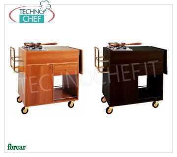 Forcar - FLAMBE TROLLEY with 2 separate FIRES, walnut color, Mod.1202 Flambe trolley in melamine wood WALNUT, with 2 BURNERS, Bottle rack, Side flap, compartment below with hinged door, 1 drawer and lower shelf, dim.mm.1050x580x850h
