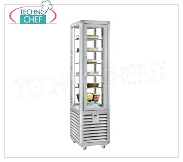 TECHNOCHEF - Freezing Showcase for Ice Cream 1 Door, Temp.-15 ° -25 ° C, lt. 250, Mod.CGL250S Freezer-Freezer display cabinet for ice cream shop 1 door, temperature -15 ° / -25 ° C, static refrigeration, Curve Line, with 4 display sides, 6 rectangular shelves of 295x460 mm, capacity 250 l, V.230 / 1, Kw.0 , 58, Weight 134 Kg, dim.mm.450x620x1860h