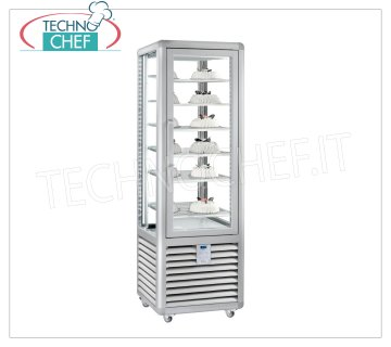 TECHNOCHEF - Freezing Showcase for Ice Cream, Temp. -15 ° - 25 ° C, 1 Door, lt. 360, Mod.CGL350S Freezer-Freezer display cabinet for ice cream shop 1 door, Curve line, capacity 360 lt, temperature -15 ° / -25 ° C, static refrigeration, with 4 display sides, 6 square shelves of 460x460 mm, V.230 / 1, Kw.0 , 7, Weight 146 K g, dim.mm.620x620x1860h