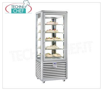 TECHNOCHEF - Refrigerated display case for Pastry, Temp. + 5 ° -20 ° C, 1 Door, lt.427, Mod.CGL450G2T Multi-temperature showcase from + 5 ° to -20 ° C for pastry 1 door, ventilated refrigeration, Curve Line, with 4 display sides, 5 rectangular shelves of mm 565x445, capacity lt 427, V.230 / 1, Kw.0.75, Weight 186 Kg, dim.mm.720x620x1860h