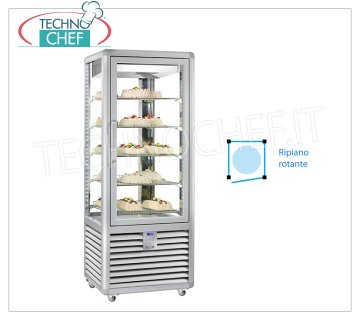 TECHNOCHEF - Refrigerated display cabinet for Pastry, Temp. + 5 ° -20 ° C, 1 Door, lt.427, Mod.CGL450R2T Multi-temperature display cabinet from + 5 ° to -20 ° C for pastry 1 door, ventilated refrigeration, Curve Line, with 4 display sides, 5 rotating glass shelves Ø 452, capacity lt 427, V.230 / 1, Kw.0.54 , Weight 186 Kg, dim.mm.720x620x1860h
