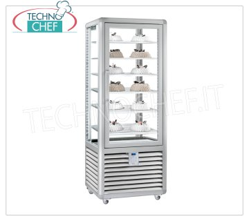 TECHNOCHEF - Freezing Showcase for Ice Cream, Temp.-15 ° -25 ° C, 1 Door, lt.427, Mod.CGL450S Freezer-Freezer display cabinet for ice cream shop 1 door, temperature -15 ° / -25 ° C, static refrigeration, Curve Line, with 4 display sides, 6 rectangular shelves of 560x440 mm, capacity 427 lt, V.230 / 1, Kw.0 , 7, Weight 165 Kg, dim.mm.720x620x1860h