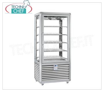TECHNOCHEF - Refrigerated display case for Pastry, Temp. + 5 ° -20 ° C, 1 Door, lt. 541, Mod.CGL600G2T Multi-temperature display cabinet from + 5 ° to -20 ° C for pastry 1 door, ventilated refrigeration, Curve Line, with 4 display sides, 5 rectangular shelves of mm 747x445, capacity lt 541, V.230 / 1, Kw.0,85, Weight 205 Kg, dim.mm.900x620x1860h