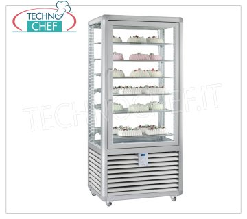 TECHNOCHEF - Freezing Showcase for Ice Cream 1 Door, Temp. -15 ° -25 ° C, lt. 541, Mod.CGL600S Freezer-Freezer display cabinet for ice cream shop 1 door, temperature -15 ° / -25 ° C, static refrigeration, Curve Line, with 4 display sides, 6 rectangular shelves of 734x460 mm, capacity lt. 541, V.230 / 1, Kw. 0,7, Weight 192 Kg, dim.mm.900x620x1860h