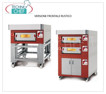 Electric modular pizza oven, CL CLASSIC line, room entirely in refractory for 6 pizzas MODULAR electric pizza oven, for 6 pizzas diam. 300 mm, version with RUSTIC FRONT, ROOM COMPLETELY REFRACTORY from 600x900x170h, V.400 / 3, Kw.7,2, Weight 175 Kg, external dimensions 1000x1260x400h mm