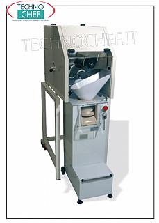Pizza rounders COMBINED MACHINE PUNCH-ROUNDER FOR PASTA, MAX PASTA LOAD 30 kg, for PORTIONS from 30 to 300 grams with photocell weight adjustment, pull-out rounder on feet and wheel, V. 230/1 - kw 0.85 - weight 126 kg - dimensions mm 490x1100x1480h.