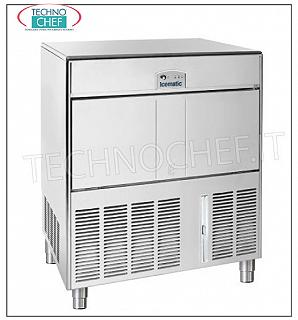 Ice cube makers / ice cube makers with ICEMATIC storage ICEMATIC ice cube maker with hollow cubes, yield 142 kg / 24 hours, 70 kg deposit, AIR cooling, V. 230/1, Weight 76 kg, Dimensions 92x65x127.9h cm