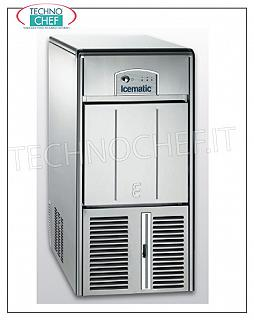 Manufacturers / ice cube ice machines with ICEMATIC storage Ice maker ICEMATIC cubic cables, 21 kg / 24 hrs, Storage 7 kg, Cooling to AIR, V. 230/1, kw 0,26, Weight kg 35, Dimensions cm 34x54,5x69h