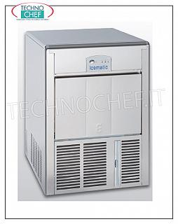 Ice cube makers / ice cube makers with ICEMATIC storage ICEMATIC ice cube maker with hollow cubes, yield 37 kg / 24 hours, deposit 12 kg, AIR cooling, V. 230/1, 0.35 kw, Weight 43 kg, Dimensions 45x54.5x69h cm