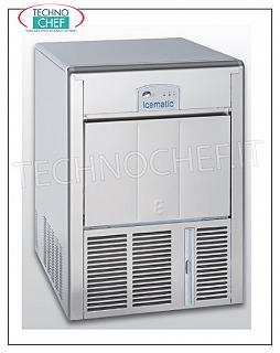 Ice cube makers / ice cube makers with ICEMATIC storage ICEMATIC ice cube maker with hollow cubes, yield 45 kg / 24 hours, 16 kg deposit, AIR cooling, V. 230/1, 0.37 kW, Weight 48 kg, Dimensions 50x60x69h cm