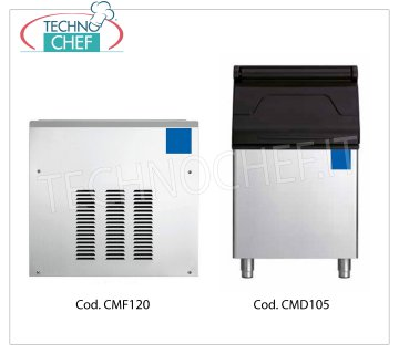 Manufacturers / granular ice machines without deposit, yield 120 Kg / 24 hours Granular ice maker, without deposit, stainless steel exterior, air cooling, V 230/1, 120 Kg / 24 hour output, 560x533x542h size, 45 kg weight.