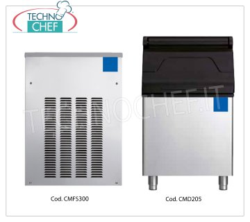Manufacturers / granular ice machines without deposit, yield 320 Kg / 24 hours Granular ice maker, without deposit, stainless steel exterior, air cooling, V 230/1, yield 320 Kg / 24 hours, dimensions 536x660x707h, weight 79 Kg.