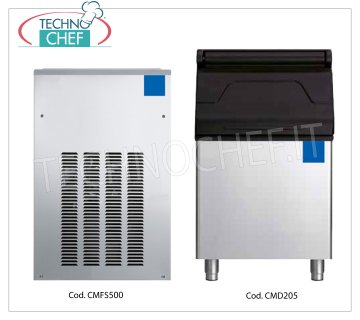 Granular ice maker machine without deposit, yield 550 Kg / 24 hours Granular ice maker, without deposit, stainless steel exterior, air cooling, V 230/1, yield 550 Kg / 24 hours, dimensions 536x660x847h, weight 95 Kg.
