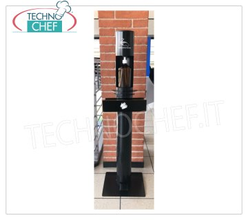 Floor no touch with pedal drive and glove holder Floor stand-column with bottle for hand sanitizer gel 1000 ml and glove holder, pedal operated, weight 8.5 kg, dim.mm.330x300x1200h