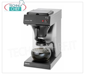 Technochef - COFFEE MACHINE AMERICAN 16 liter / hour filter, mod. COMA1000 American coffee machine with 1 CARAFE and 2 Hot Plates, hourly production lt.16, V.230 / 1, Kw.2.00, dim.mm.215x385x460h