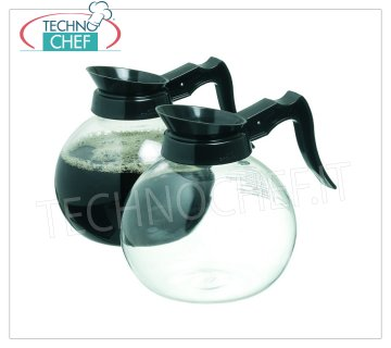 Technochef - CARAFE in Glass for Coffee Filter from lt.1.7, mod. COMA15 Glass carafe for Caffe Filter with handle and spout in black plastic, capacity lt.1,7, diameter 150 mm, height 175 mm.