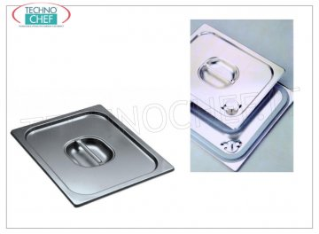 Lids for Gastro-norm pans, 18/10 stainless steel Lid with handle, 18/10 stainless steel, for GN 1/1 tray