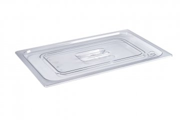 Gastronorm containers in polycarbonate Polycarbonate lid with handle grip for gastro-norm bowl 1/4