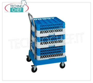 TROLLEY for DISHWASHER BASKETS WITH HANDLE Basket trolley with ABS structure and stainless steel handle, dim.mm.530x560x920h