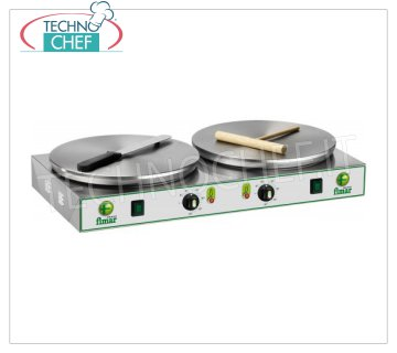 Technochef - Professional Electric Crepe Maker, 2 Cast Iron Plates Ø 350 mm, Mod.CRP2N ELECTRIC TABLE CREPE with 2 CAST IRON COOKING PLATES and NON-SLIP MULTI-LINE SURFACE DIAMETER 350 MM, thermostatic control of the cooking temperature, V.400 / 3 + N, Kw. 2,4 + 2,4, Weight 23 Kg, external dimensions mm.760x370x140h.