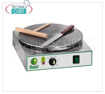 Technochef - Professional Electric Crepe Maker, 1 Cast Iron Plate Ø 400 mm, Mod.CRP4 ELECTRIC TABLE CREPIERE with CAST IRON HOB, MULTI-STRIP NON-SLIP SURFACE, DIAMETER 400 MM, thermostatic control of the cooking temperature, V. 230/1, Kw. 2.75, Weight 16 Kg, external dimensions mm. 400x470x120h