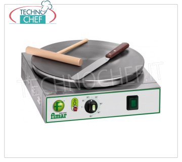 Technochef - Professional Electric Crepe Maker, 1 Cast Iron Plate Ø 350 mm, Mod.CRPN ELECTRIC table crepe maker with cast iron hob, non-slip multi-line surface, 350 mm diameter, thermostatic control of the cooking temperature, V. 230/1, Kw. 2,4, Weight 12 Kg, external dimensions mm.370x370x140h.