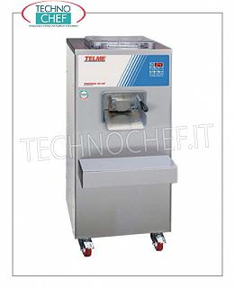 TECHNOCHEF - Professional ice cream batch freezer, Capacity 7 liters, Mod.PRATICA35-50 HIGH PRODUCTIVITY VERTICAL CYLINDER ICE CREAM FREEZER, AUTOMATIC EXTRACTION, MIXED CYCLE CAPACITY from 3 to 7 lt, MAX HOURLY PRODUCTION: 50 lt, AIR cooling, V.400 / 3 + N, Kw 3,5, dim . mm 490x700x1120h